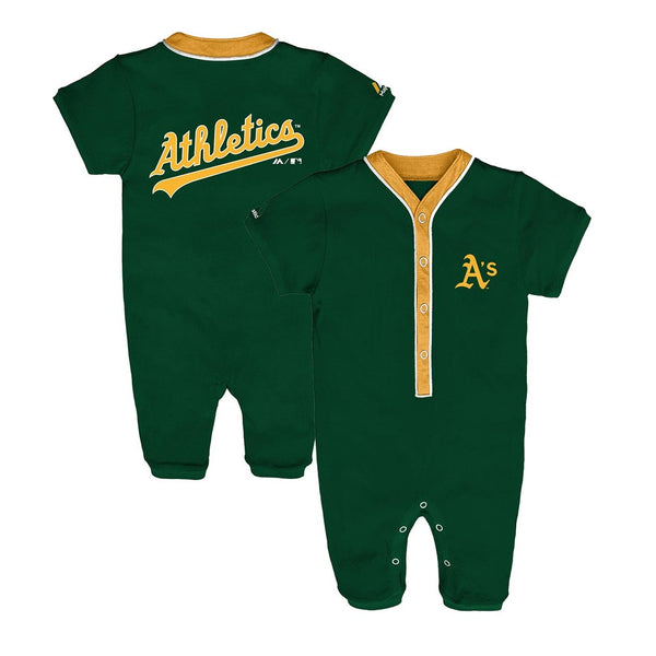 Oakland Athletics MLB Majestic Newborn Green Outfield Button Down Coverall