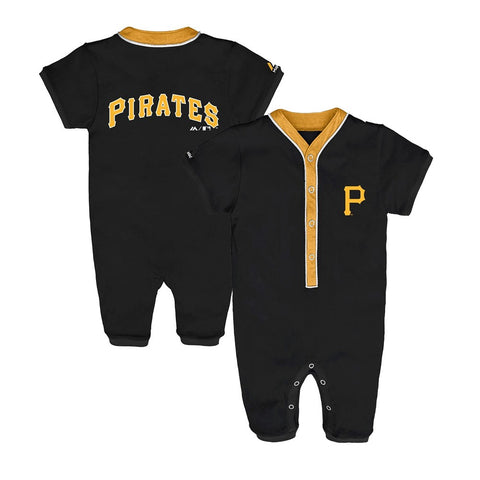 Pittsburgh Pirates MLB Majestic Newborn Black Outfield Button Down Coverall