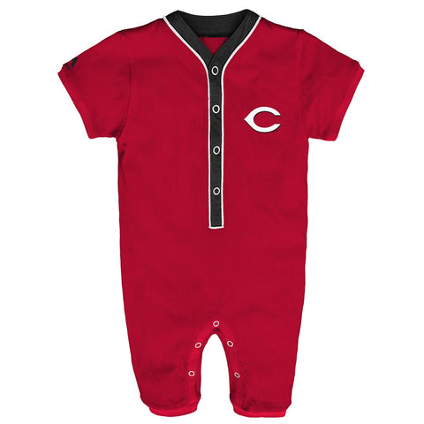 Cincinnati Reds MLB Majestic Newborn Red Outfield Button Down Coverall