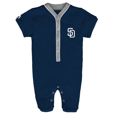 San Diego Padres MLB Majestic Newborn Navy Blue Outfield Button Down Coverall