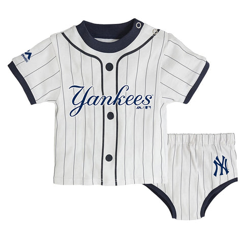 "New York Yankees MLB Newborn's White ""MVP"" Long Sleeve Shirt & Pant Set"