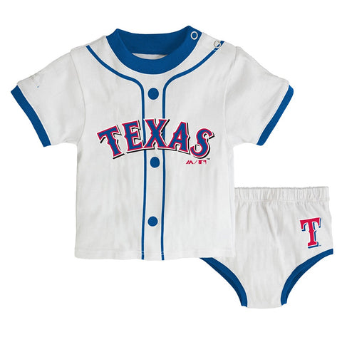 "Texas Rangers MLB Newborn's White ""MVP"" Long Sleeve Shirt & Pants Set"