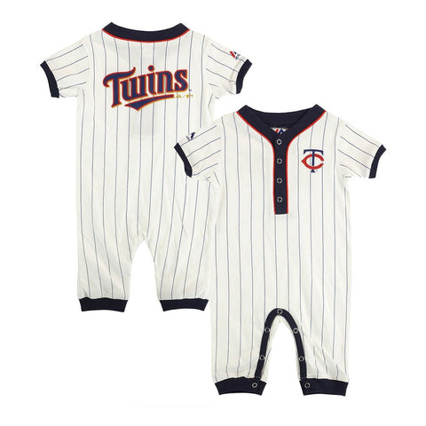 Minnesota Twins MLB Majestic Newborn White Outfield Button Down Coverall