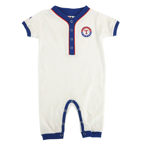 Texas Rangers MLB Majestic Newborn White Outfield Button Down Coverall