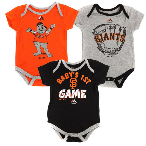 "San Francisco Giants MLB Majestic Newborn ""Small Fan"" 3 Piece Creeper Set"