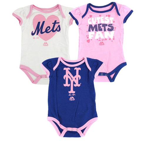 "New York Mets MLB Majestic Newborn ""Lil' Fanatic"" 3 Piece Play Creeper Set"