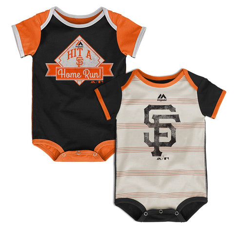 "San Francisco Giants MLB Majestic Newborn ""Good O' Baseball"" 2 Piece Creeper Set"