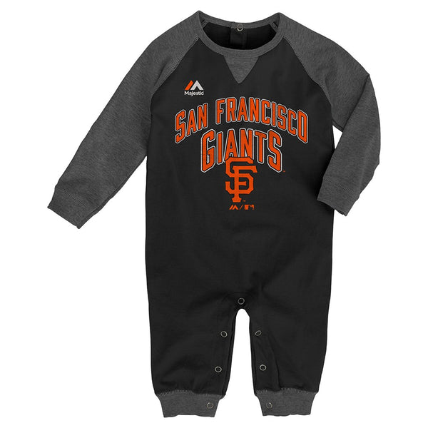 "San Francisco Giants MLB Majestic Newborn Black ""Proud Fan"" Long Sleeve Romper"