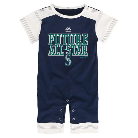 "Seattle Mariners MLB Majestic Newborn Navy Blue ""I'm An All Star"" Romper"