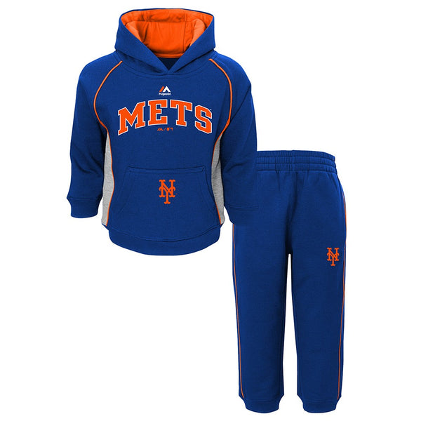 "New York Mets MLB Majestic ""Lil Fan"" Team Color Hoodie & Pants Fleece Set Infant"
