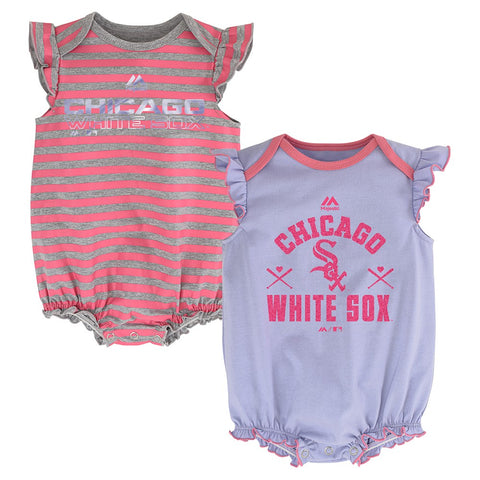 "Chicago White Sox MLB Majestic Infant ""Team Sparkle"" 2 Pack Frill Creeper Set"