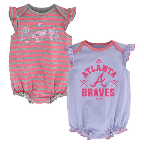 "Atlanta Braves MLB Majestic Infant ""Team Sparkle"" 2 Pack Frill Creeper Set"