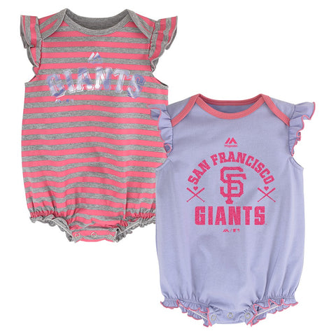 "San Francisco Giants MLB Majestic Infant ""Team Sparkle"" 2 Pack Frill Creeper Set"