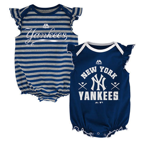 "New York Yankees MLB Majestic Infant ""Team Sparkle"" 2 Pack Frill Creeper Set"