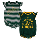 "Oakland Athletics MLB Majestic Infant ""Team Sparkle"" 2 Pack Frill Creeper Set"