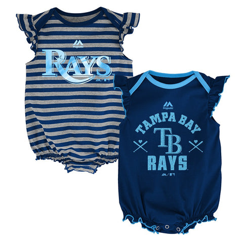 "Tampa Bay Rays MLB Majestic Infant ""Team Sparkle"" 2 Pack Frill Creeper Set"