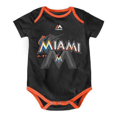 "Miami Marlins MLB Majestic Infant ""Three Strikes!"" 3 Piece Creeper Set"
