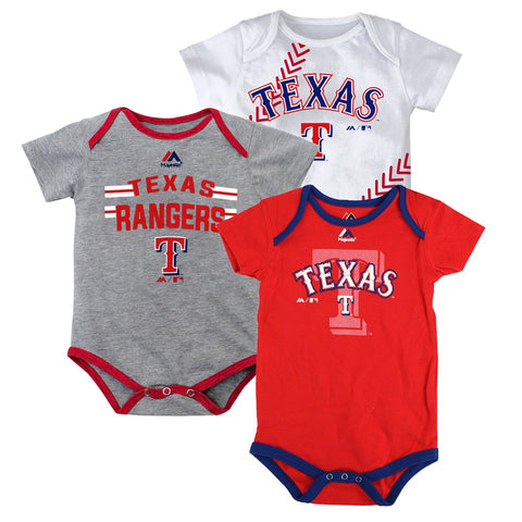 "Texas Rangers MLB Majestic Infant ""Three Strikes!"" 3 Piece Creeper Set"