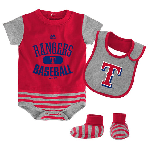 Texas Rangers MLB Majestic Infant Red Baseball Property Creeper Bib & Bootie Set