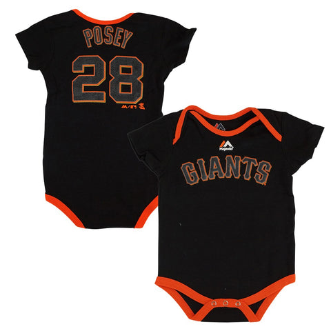 Buster Posey San Francisco Giants MLB Majestic Infant 3 Piece Creeper Set