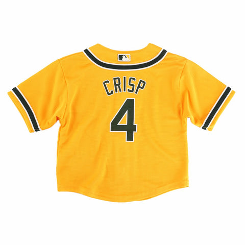 Coco Crisp Oakland Athletic MLB Majestic Infant's Yellow Cool Base Alt Jersey