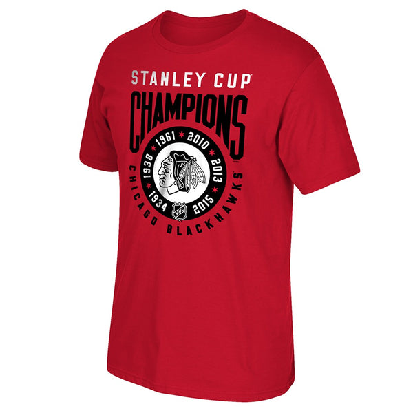 "Chicago Blackhawks Reebok ""6x Stanley Cup Champions"" Ring Red T-Shirt Men's"