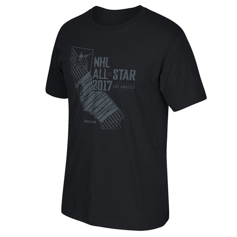 2017 NHL All Star Game Los Angeles Reebok State Logo Black T-Shirt Men's