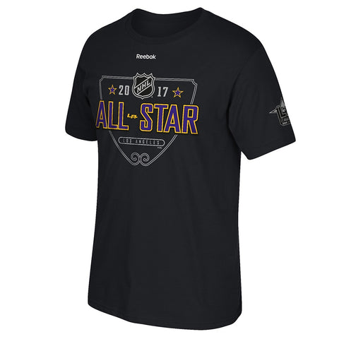 "2017 NHL All Star Game Los Angeles Reebok ""All Star Signage"" Black T-Shirt Men's"