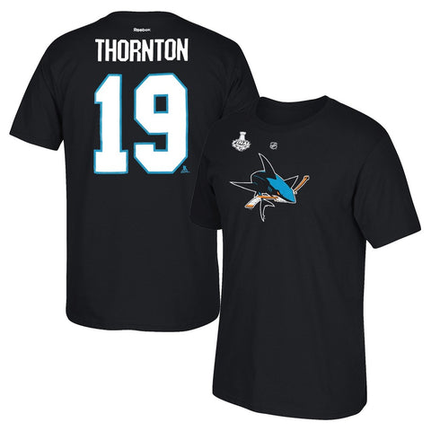 Joe Thornton Reebok San Jose Sharks 2016 Stanley Cup N&N Jersey T-Shirt Men's