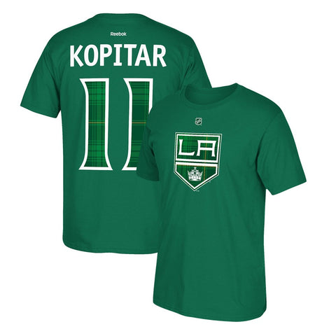 Anze Kopitar Reebok Los Angeles Kings St. Patricks Day Tartan Jersey T-Shirt