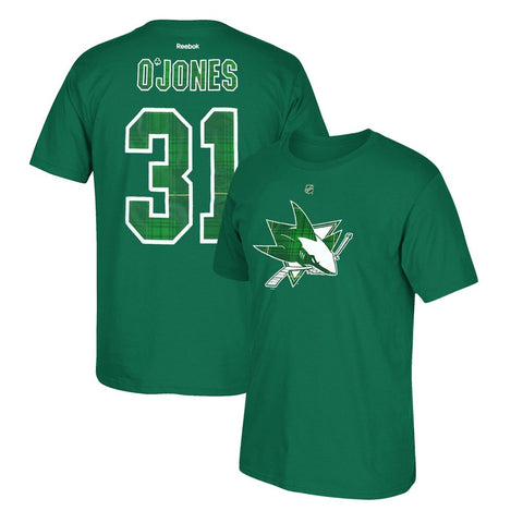 Martin Jones Reebok San Jose Sharks St. Patricks Day Tartan Jersey T-Shirt Men's