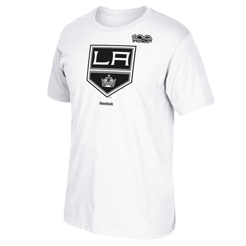 2016-17 Los Angeles Kings Team Logo w/ Centennial 100th Patch White T-Shirt Men's