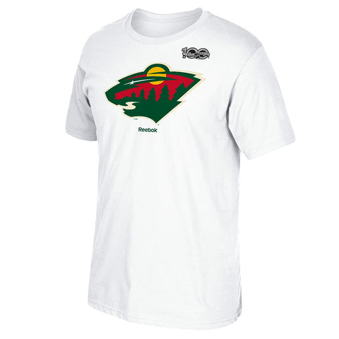 2016-17 Minnesota Wild Team Logo w/ Centennial 100th Patch White T-Shirt Men's