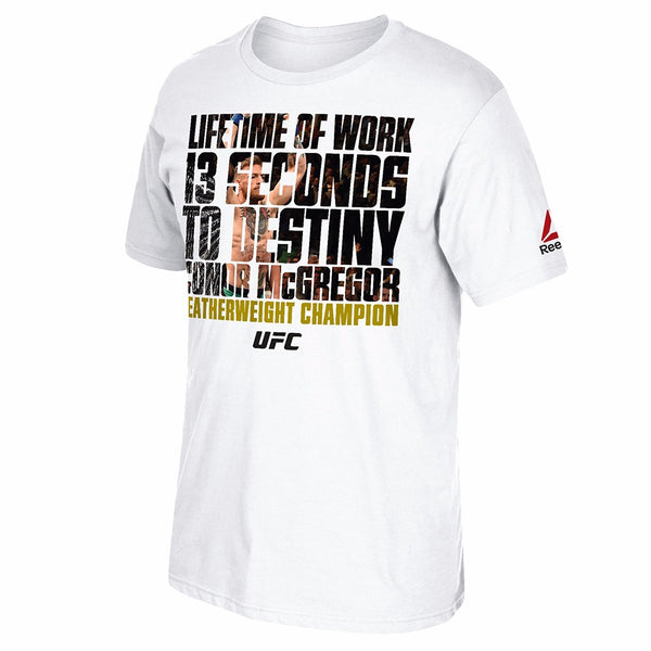 "Conor McGregor UFC Reebok Men's White ""Lifetime of Work"" Graphic T-Shirt"