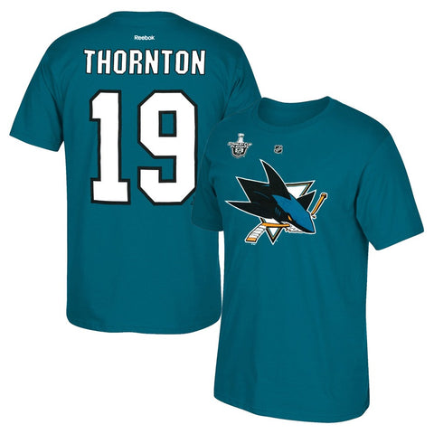 Joe Thornton Reebok San Jose Sharks Stanley Cup Playoffs Jersey T-Shirt Men's