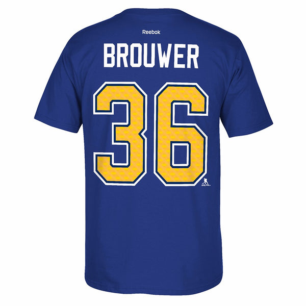 Troy Brouwer St. Louis Blues NHL Reebok Men's Blue Name & Number Jersey T-Shirt