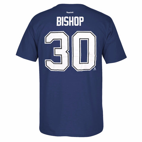 Ben Bishop Tampa Bay Lightning NHL Reebok Blue Name & Number Jersey T-Shirt