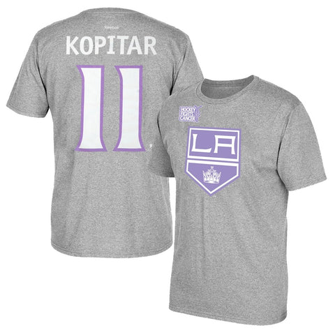 "Anze Kopitar Reebok Los Angeles Kings ""Hockey Fights Cancer"" Jersey T-Shirt Men"