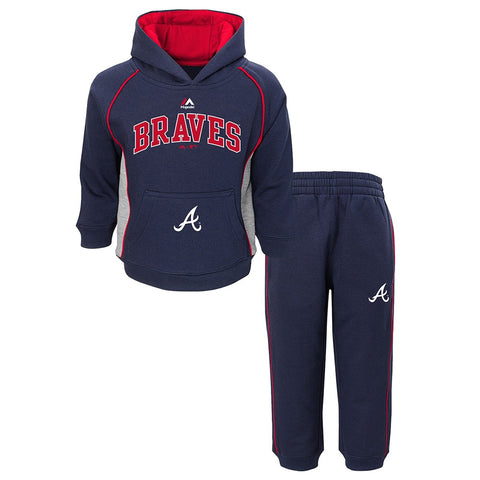 "Atlanta Braves MLB Majestic ""Lil Fan"" Navy Hoodie & Pants Fleece Set Toddler"