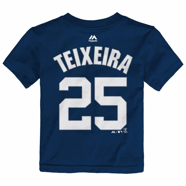 Mark Teixeira New York Yankees MLB Majestic Toddler's Navy Faux Stitch Shirt