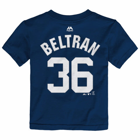 Carlos Beltran New York Yankees MLB Majestic Toddler's Navy Faux Stitch Shirt