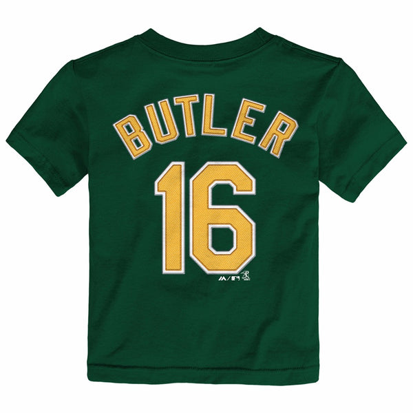 Billy Butler Oakland Athletics MLB Majestic Toddler's Green Faux Stitch T-Shirt