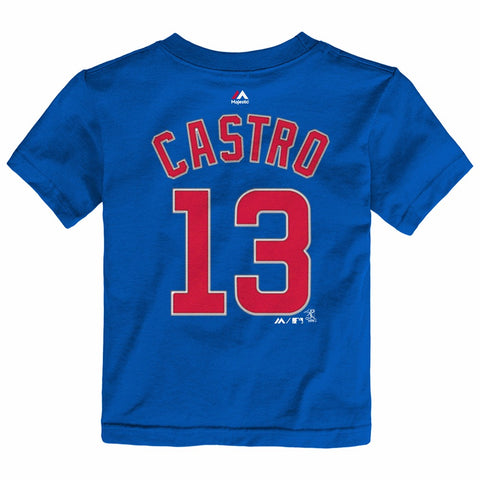 Starlin Castro Chicago Cubs MLB Majestic Toddler's Blue Faux Stitch Jersey Shirt