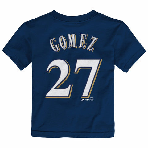 Carlos Gomez Milwaukee Brewers MLB Majestic Toddler Navy Blue Faux Stitch Shirt