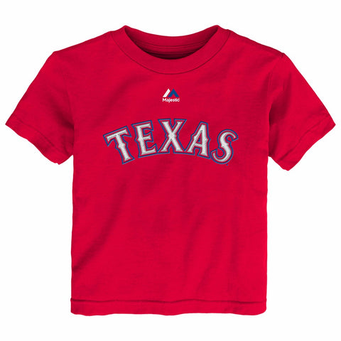 Prince Fielder Texas Rangers MLB Majestic Toddler Red Faux Stitch Jersey T-Shirt