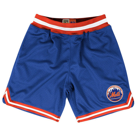 New York Mets MLB Mitchell & Ness Blue Authentic Playoff Win Throwback Shorts