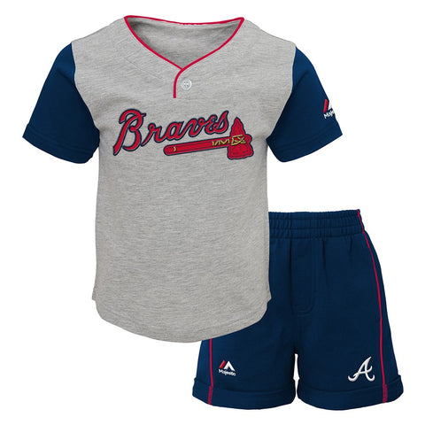 "Atlanta Braves MLB Grey ""Batting Practice"" T-Shirt & Shorts Set Toddler (2T-4T)"