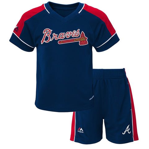 "Atlanta Braves Majestic Toddler Navy Blue ""Baseball Classic"" Shirt & Shorts Set"