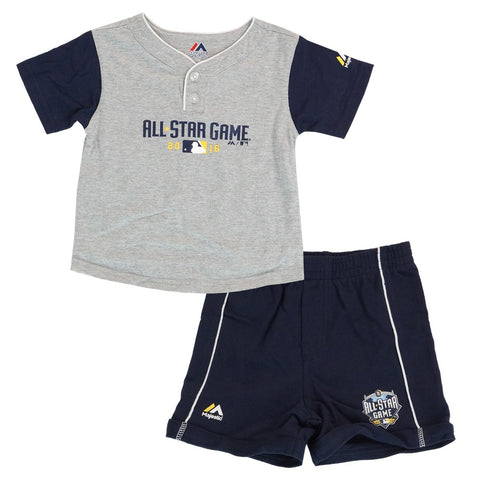 "2016 MLB All Star MLB Majestic Grey ""Batter Up"" T-Shirt & Shorts Set Toddler"