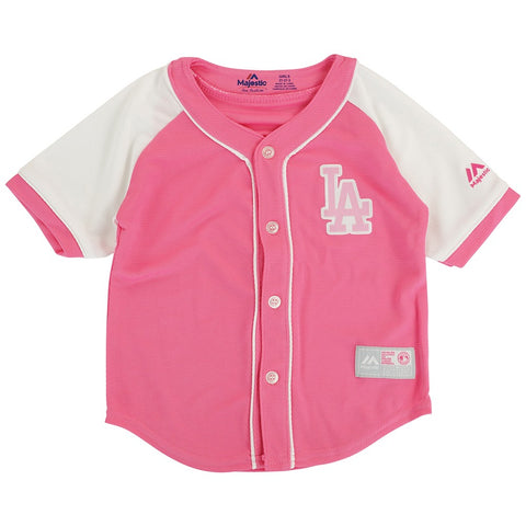 Los Angeles Dodgers Majestic MLB Girls Toddler Fashion Pink Baseball Jersey